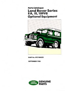Livre : Land Rover Series IIA, III, 109 V8 Optional Equipment (1961-1985) - Official Parts Catalogue