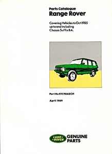 Livre : Range Rover (1970-October 1985) - Official Parts Catalogue