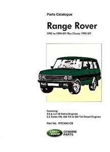 Livre : Range Rover (1992-1994) plus Classic (1995 Model Year) - Official Parts Catalogue