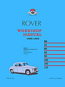 Boek: Rover P4 - 60, 75, 80, 90, 95, 100, 105, 110 (1950-1964) - Official Workshop Manual