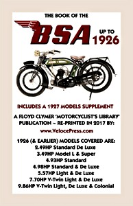 Livre : Book of the BSA Up to 1926 - Includes a 1927 Models Supplement - Clymer Manual Reprint