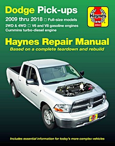 Livre : Dodge Full-size Pick-ups (2009-2016) - V6 and V8 gasoline engines / Cummins turbo-diesel engine - Haynes Repair Manual