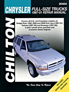 Livre : Dodge Dakota (1997-2000), Durango (1997-2000), Ram 1500, 2500, 3500 (1997-2001) - gasoline and diesel - Chilton Repair Manual